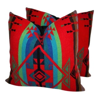Pair of Indian Design Pendleton Camp Blanket Pillows For Sale