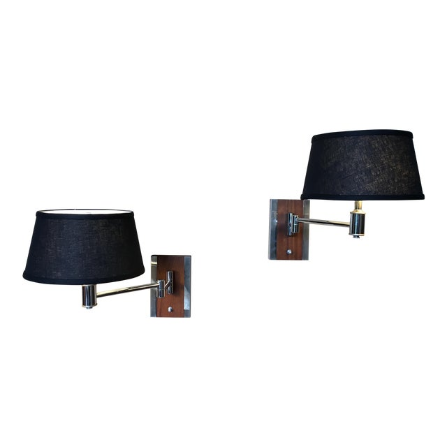 Mid-Century Modern Walnut and Chrome Articulated Sconces - a Pair For Sale