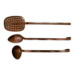 Vintage French Copper Utensils, Set of 3 For Sale