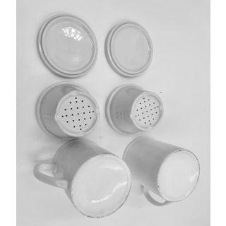 Japanese Ceramic Porcelain White Tea Leaf Cups a Pair Set of Two 2 Lid Infuser Strainer Builtin Antique Vintage Preview
