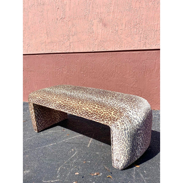 Contemporary Contemporary Leopard Velvet Waterfall Bench For Sale - Image 3 of 10