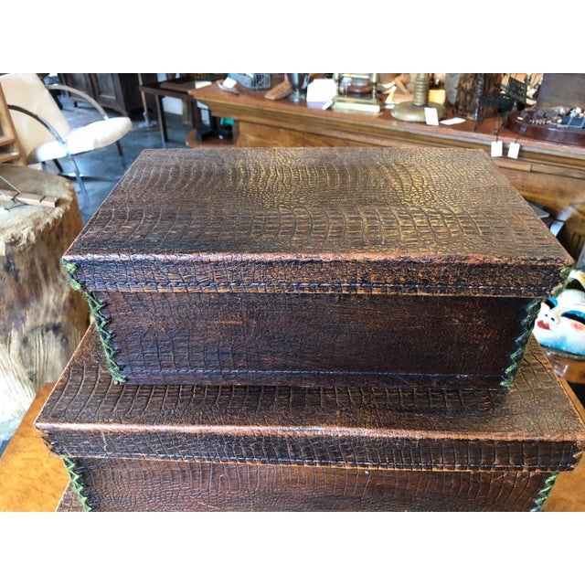 Brown Antique Crocodile Nesting Boxes - Set of 4 For Sale - Image 8 of 13