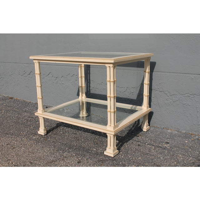 1960s Hollywood Regency Triple Stalk Off White Faux Bamboo Accent/Side Table For Sale - Image 4 of 9