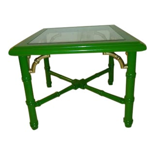 Chinoiserie Painted Faux Bamboo Table by Lane For Sale