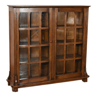 Crafters and Weavers Mission Solid Oak Double Door Bookcase Dark Walnut For Sale