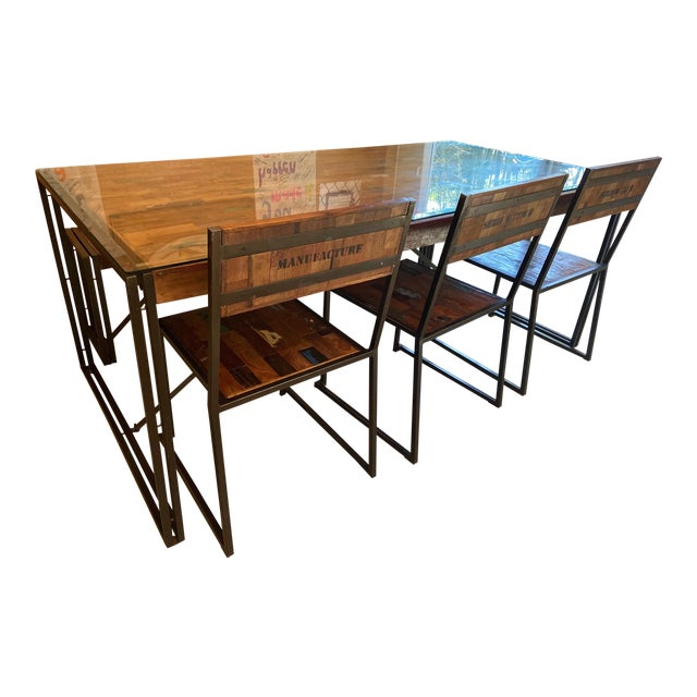 Venice Industrial Iron & Crate Dining Set - 5 Pieces For Sale