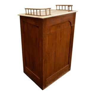 Antique Marble Top and Brass Detail Oak Podium
