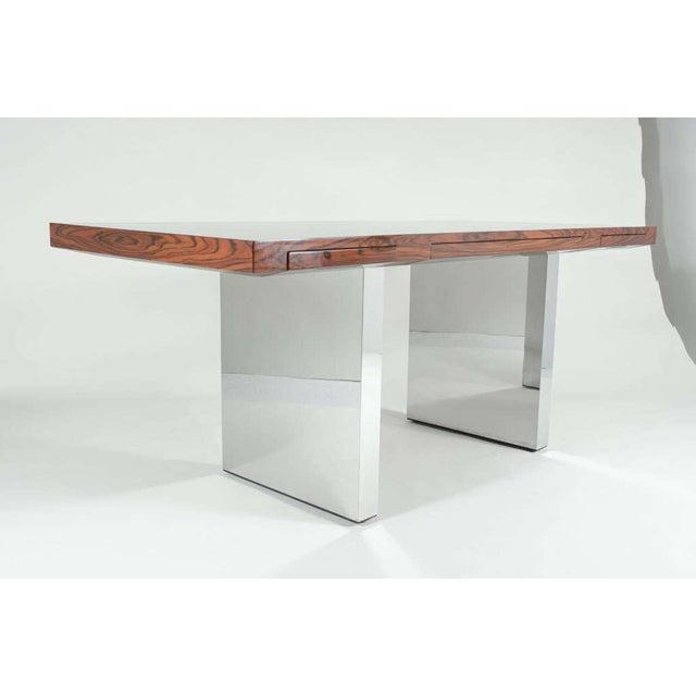 Mid-Century Modern Roger Sprunger for Dunbar Rosewood & Chrome Executive Desk For Sale - Image 3 of 10