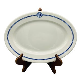 1940s Eastern Steamship Platter From Mayer China True Ivory Marine Pattern For Sale