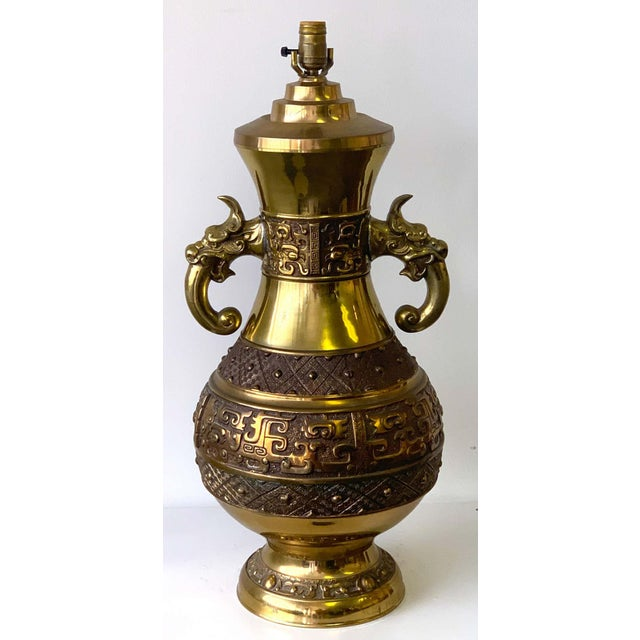 Chinese Brass Archaic Lamp, by Marbro Lamp Co. For Sale - Image 9 of 12
