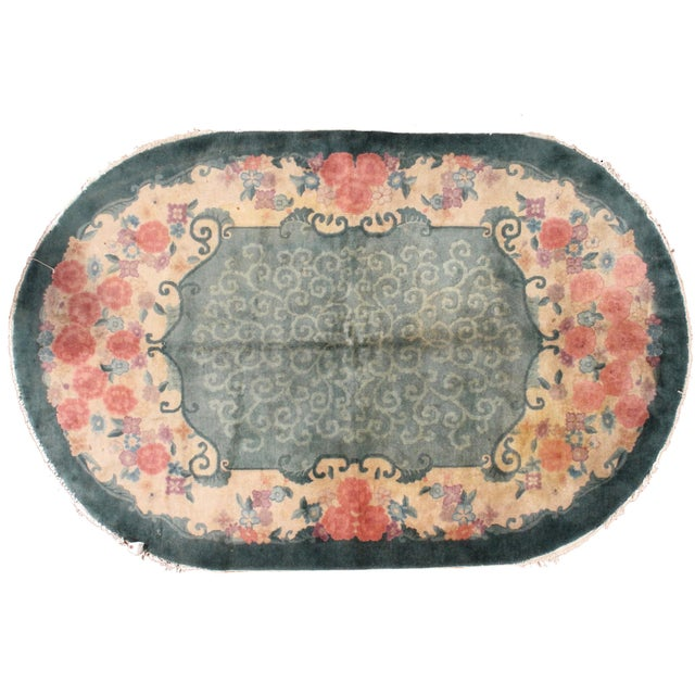 1920s Hand Made Antique Art Deco Chinese Rug - 5′ × 7′10″ - Image 7 of 7