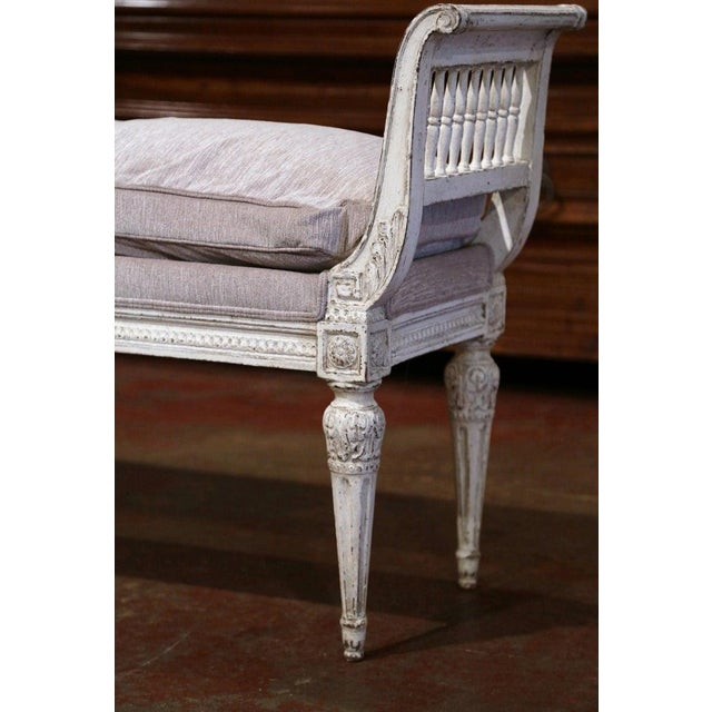 19th Century French Directoire Carved Painted Banquette With Back and Upholstery For Sale - Image 9 of 11