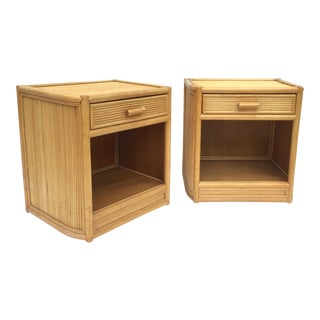 Pair Vintage Bamboo Nightstands For Sale