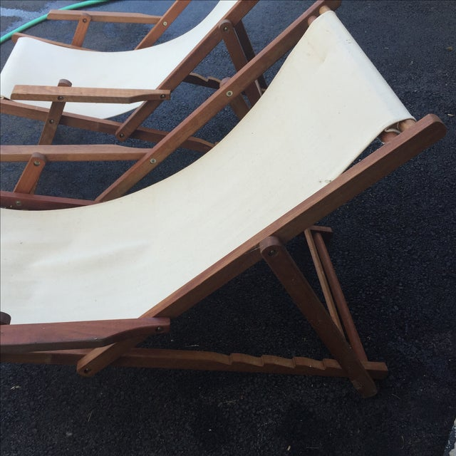 Wood Slingback Canvas Chairs - A Pair For Sale - Image 5 of 11