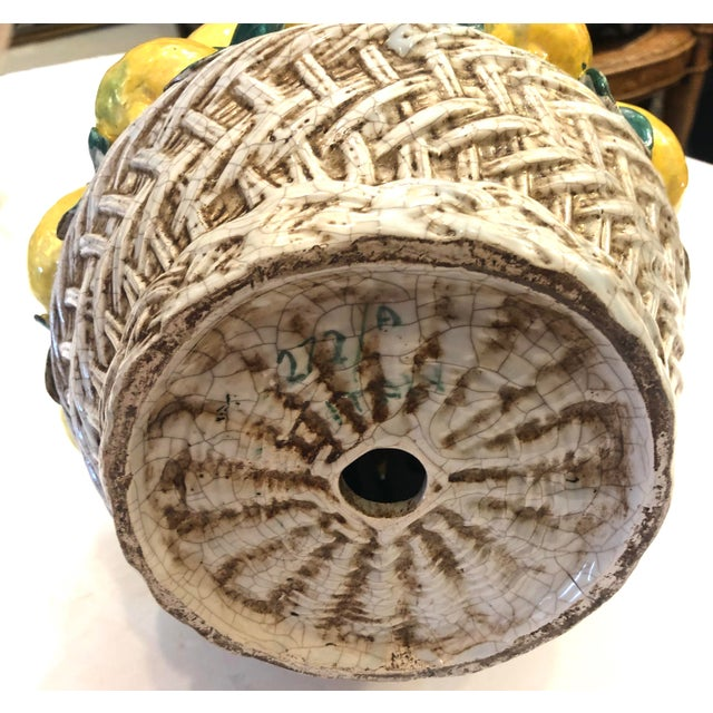 """Italian Ceramic Giant Lemon Topiary in Basket, Centerpiece, 28"""" High For Sale - Image 9 of 12"""