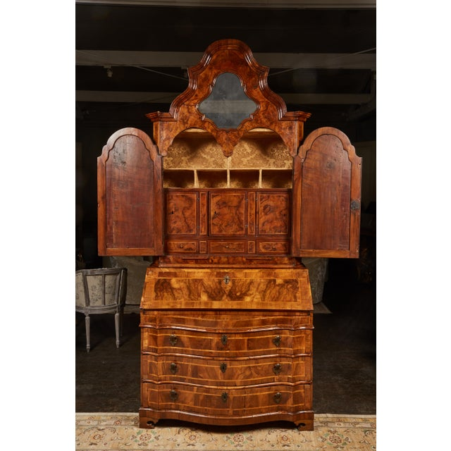 Walnut 18th Century Italian Baroque Walnut and Fruitwood Secretary For Sale - Image 7 of 9