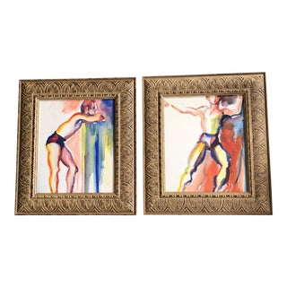 Gallery Wall Collection-2 Original Vintage Abstract Male Figure Study Watercolor Paintings Vintage Frames- a Pair For Sale