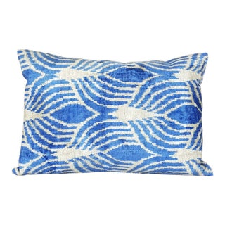 Egyptian Blue and Beige Silk Velvet Pillow For Sale