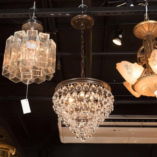 Bronze Hollywood Regency Crystal Teardrop and Ball Chandelier with Bronze Fittings For Sale - Image 7 of 10