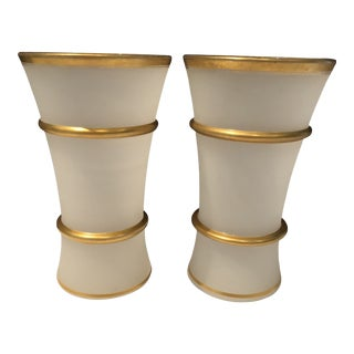 1920s French White and Gilt Opaline Vases - a Pair For Sale