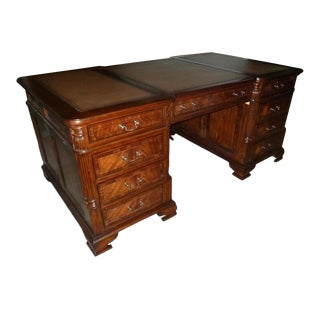 Office Desk English Bracket Feet Mahogany Banded For Sale