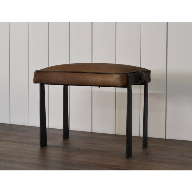 Contemporary Modernist Iron and Leather Hair on Hide Stool For Sale - Image 3 of 8