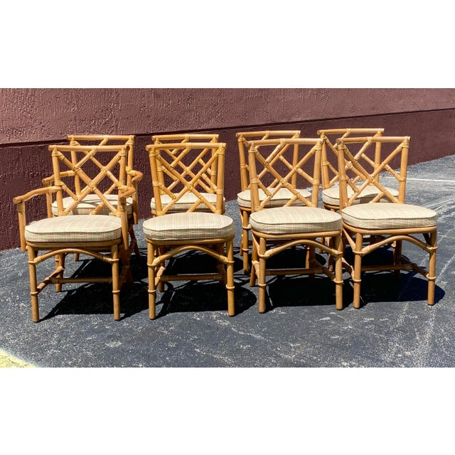 Camel Vintage Coastal Ficks Reed Chinese Chippendale Bamboo Dining Chairs - Set of 8 For Sale - Image 8 of 13