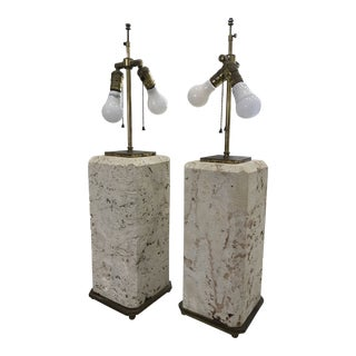Coquina Stone Lamps Attributed to Karl Springer - a Pair For Sale
