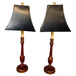 Chinroseiere Decorated Vintage Candle-Prick Table Lamps With Custom Shades, Pair For Sale