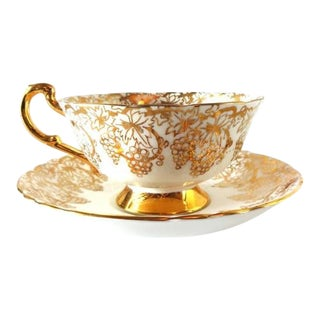 Mid 20th Century Vintage Royal Standard Gold Gilt Grapes Bone China Pedestal Tea Cup and Saucer For Sale
