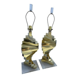 Sciolari Style Pair of Gold Tone Table Lamps For Sale
