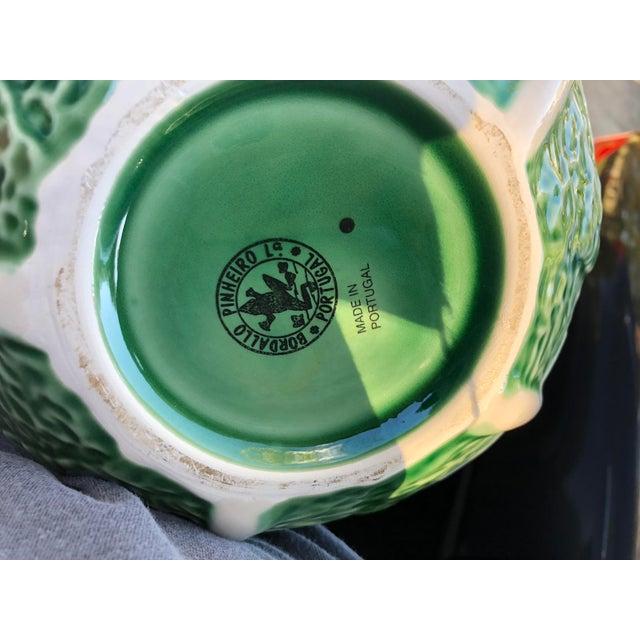 1980s Vintage Majolica Cabbage Leaf Bowl For Sale - Image 5 of 7