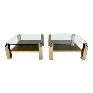 23-Karat Gold-Plated Two-Tier End Tables by Belgo Chrome - a Pair For Sale