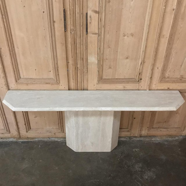Stone Mid-Century Limestone ~ Travertine Console For Sale - Image 7 of 12