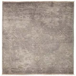 """New Hand-Knotted Overdyed Gray Rug - 5'2"""" X 5'2"""""""
