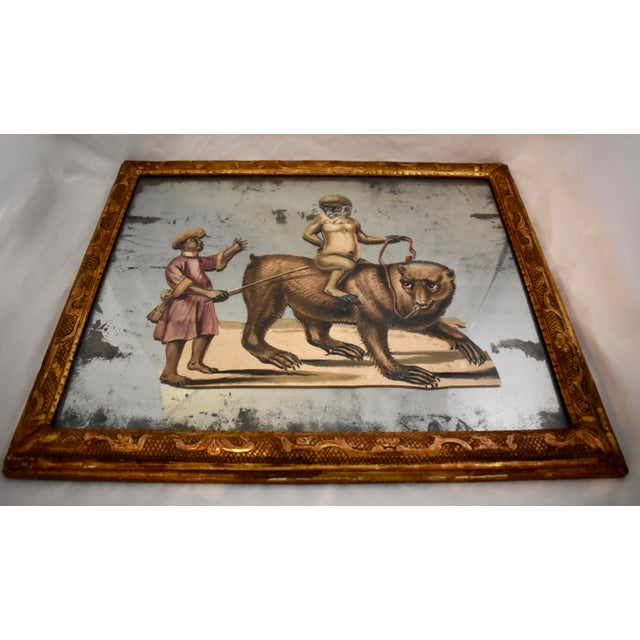 19th C. French Exotic Hand-Painted Decoupage Mirror, Animal Trainer, Monkey & Bear For Sale - Image 4 of 13