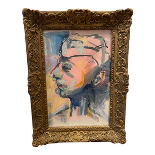 Jd Naraine, Charcoal and Mixed Media Portrait in Antique Gesso Frame For Sale