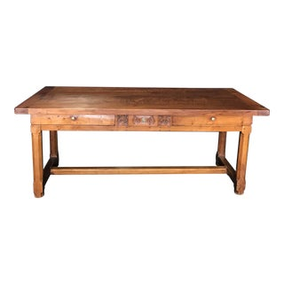 Antique French Cherry Farm Dining Table For Sale