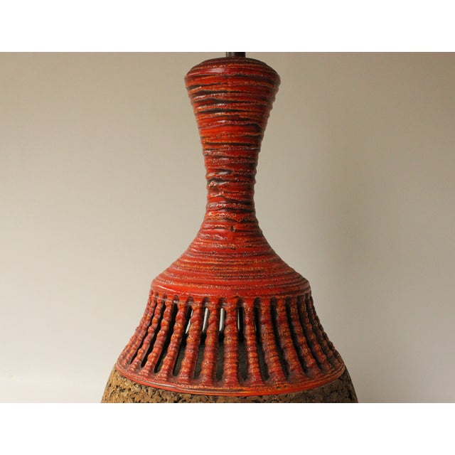 Boho Chic Cork & Pottery Table Lamp For Sale - Image 3 of 7