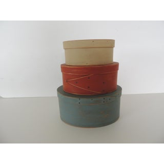 Set of 3 Red, Blue and Tan Wooden Shaker Boxes Preview