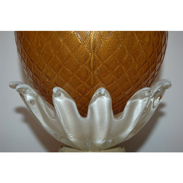 Vintage Murano Glass Pineapple Table Lamp Gold Large For Sale - Image 4 of 10