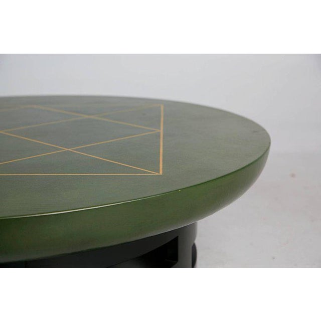 1960s Leather Coffee Table With Gold Detail by Muller & Berringer for Kittinger For Sale - Image 5 of 10