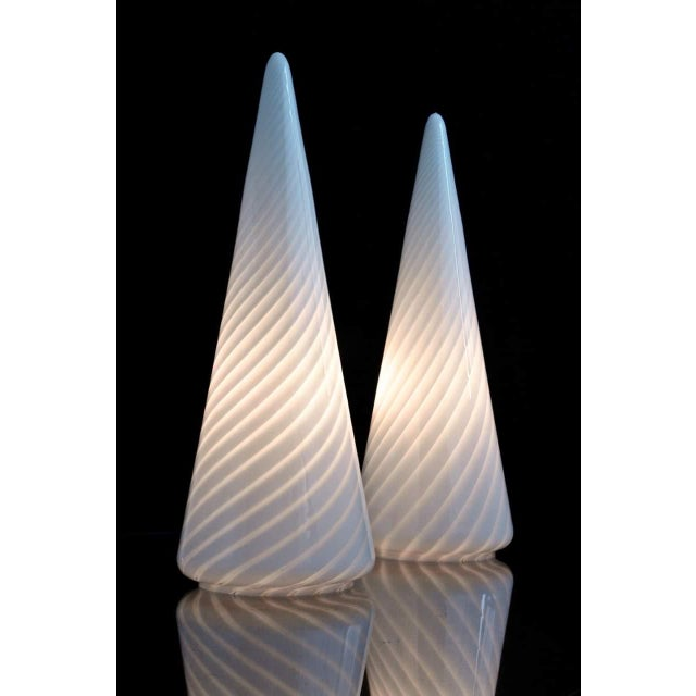 1980s Vintage Conical Vetri Murano Lamps With Diagonal Latticino Stripes- a Pair For Sale - Image 9 of 9
