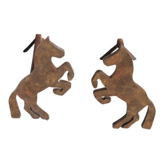 Pair of Handmade Folky Rustic Horses Andirons For Sale