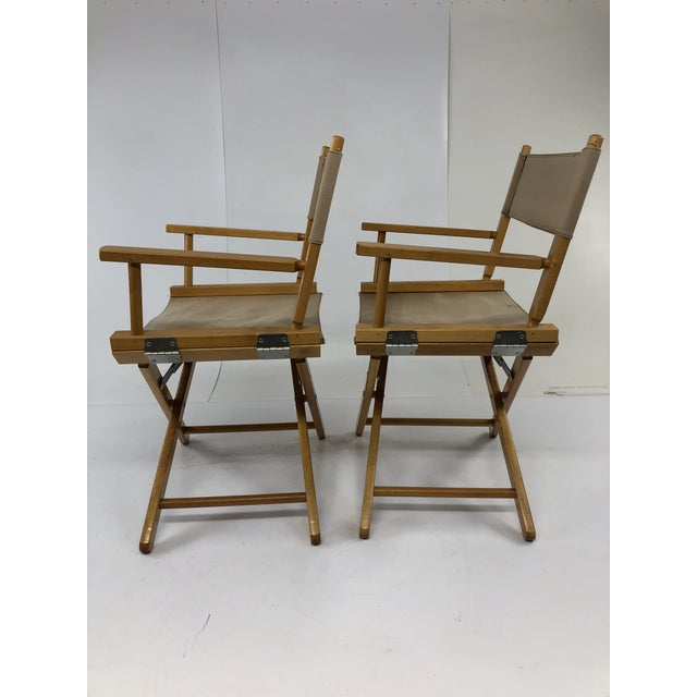 Vintage Wood & Canvas Folding Director Chairs - a Pair For Sale - Image 9 of 12