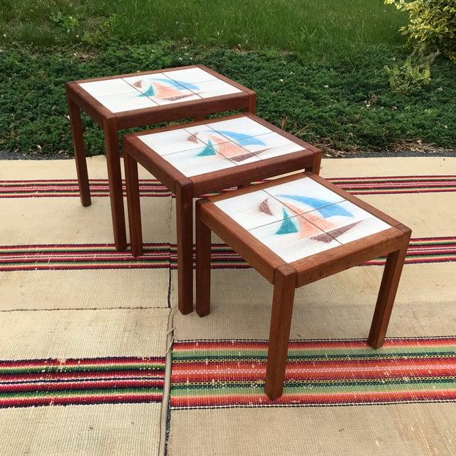 1970s Danish Modern Teak and Tile Top Nesting Tables - Set of 3 For Sale - Image 12 of 13