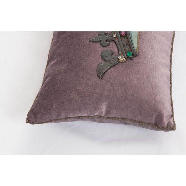 Shabby Chic B. Viz Design Antique Textile Pillow For Sale - Image 3 of 8