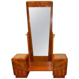 French Art Deco Carved Wood Vanity For Sale