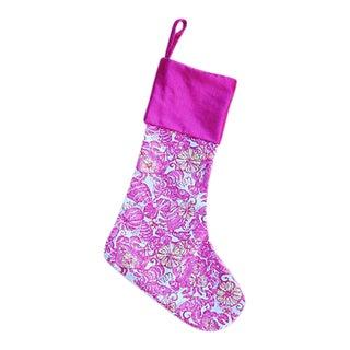 Custom Boho Chic Pink Tropical Beach Christmas Stocking