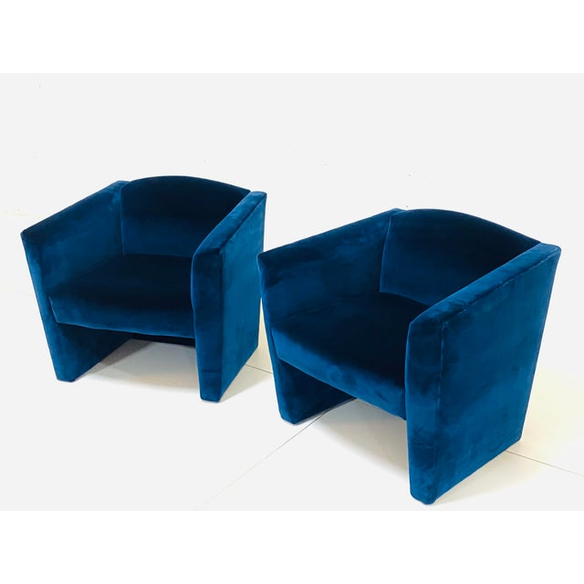 1980s Post Modern Angular Barrel Back Lounge Chairs - a Pair For Sale - Image 5 of 8